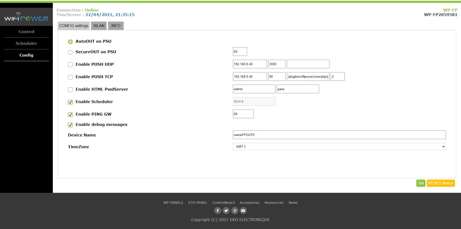 WebSite page Config